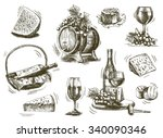 winemaking. set of sketches on... | Shutterstock .eps vector #340090346