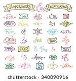 doodle calligraphic elegant... | Shutterstock .eps vector #340090916