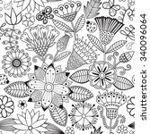 vector flower pattern. black... | Shutterstock .eps vector #340096064