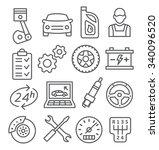 auto service line icons | Shutterstock . vector #340096520