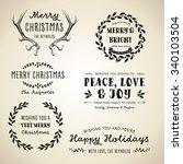 vintage christmas designs   set ... | Shutterstock .eps vector #340103504