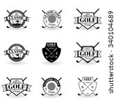emblems golf in black on a... | Shutterstock .eps vector #340104689