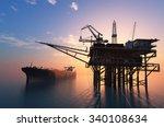 oil production into the sea  | Shutterstock . vector #340108634