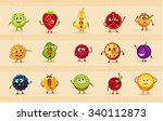 funny icons of fruits and... | Shutterstock .eps vector #340112873