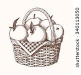 apple basket classic drawing...   Shutterstock .eps vector #340113050