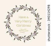 greeting card with hand drawn... | Shutterstock .eps vector #340114298