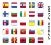 europe flags round icon set  | Shutterstock .eps vector #34011805