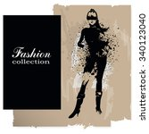fashion girl in sketch style.... | Shutterstock .eps vector #340123040
