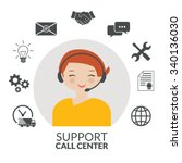 technical support woman... | Shutterstock .eps vector #340136030