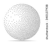 dotwork halftone 3d sphere on... | Shutterstock .eps vector #340137938