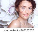 beautiful bride with wedding... | Shutterstock . vector #340139090