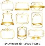 gold frame set vector  | Shutterstock .eps vector #340144358