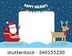 santa claus in a sleigh with... | Shutterstock .eps vector #340155230