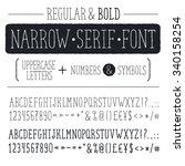 hand drawn narrow alphabet.... | Shutterstock .eps vector #340158254