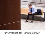 tired businessman with coffee... | Shutterstock . vector #340162424