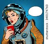 Female Astronaut Drinking Soda...