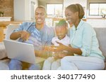 happy family using laptop on... | Shutterstock . vector #340177490