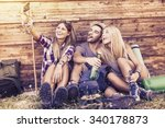 group of smiling friends taking ... | Shutterstock . vector #340178873