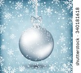 silver christmas ball with... | Shutterstock .eps vector #340181618