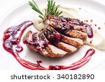 duck breast with sauce | Shutterstock . vector #340182890