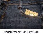condom in jeans pocket. texture ... | Shutterstock . vector #340194638