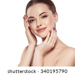 beautiful woman face close up... | Shutterstock . vector #340195790