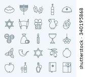 Line Happy Hanukkah Icons Set....