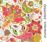floral seamless pattern.... | Shutterstock . vector #340199543