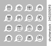 present and gift icons. holiday ... | Shutterstock .eps vector #340205093