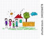 vector image of happy children. ... | Shutterstock .eps vector #340206878