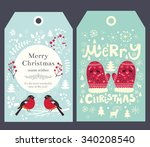 holiday christmas vector tags... | Shutterstock .eps vector #340208540