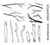 a set of twigs and sticks   Shutterstock .eps vector #340209524