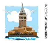 galata tower. istanbul turkey.... | Shutterstock .eps vector #340213670