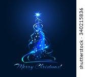 blue glow xmas tree  elegant... | Shutterstock .eps vector #340215836