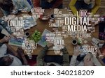 digital media shares internet... | Shutterstock . vector #340218209