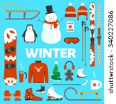 winter holidays flat objects... | Shutterstock .eps vector #340227086