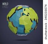 low poly vector world globe... | Shutterstock .eps vector #340233074