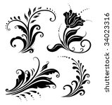 floral elements set.raster... | Shutterstock . vector #34023316