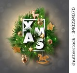 christmas label made of pine... | Shutterstock .eps vector #340234070
