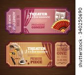 theatre tickets on wood... | Shutterstock .eps vector #340250690