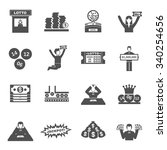 lottery black icons set with... | Shutterstock .eps vector #340254656