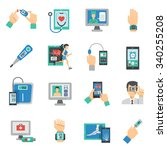 digital health icons flat set... | Shutterstock .eps vector #340255208