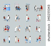 pediatrician icons set with... | Shutterstock .eps vector #340255343