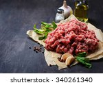 raw minced meat with olive oil... | Shutterstock . vector #340261340