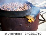 organic brown chestnuts... | Shutterstock . vector #340261760