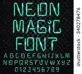 neon alphabet font. bright... | Shutterstock .eps vector #340278476