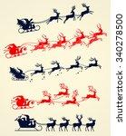 illustrations of santa's sleigh ... | Shutterstock .eps vector #340278500