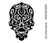 skull tribal tattoo. vector... | Shutterstock .eps vector #340283183
