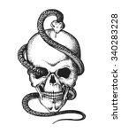 hand drawn human skull entwined ... | Shutterstock .eps vector #340283228