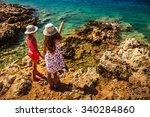 two beautiful little sisters on ... | Shutterstock . vector #340284860